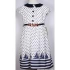 """Платье """"Badi Junior"""" (белое) синий горошек"""