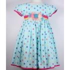 """Платье """"Qu Qi"""" голубое в кубики"""