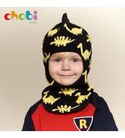 Шлем хлопковый с шипами динозавр (чёрный) Chobi